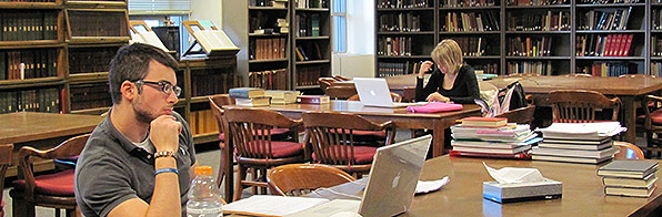 Students at work in the Classical Studies Library.